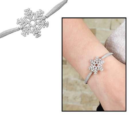 Tesbihane - Zirkon Taşlı Kar Tanesi Tasarım 925 Ayar Gümüş Bayan Bileklik
