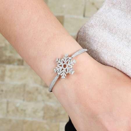 Tesbihane - Zirkon Taşlı Kar Tanesi Tasarım 925 Ayar Gümüş Bayan Bileklik (1)