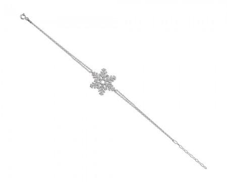 Tesbihane - 925 Ayar Gümüş Kar Tanesi Bileklik (Model-2)