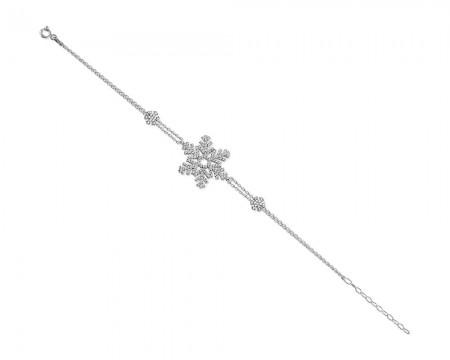 Tesbihane - 925 Ayar Gümüş Kar Tanesi Bileklik