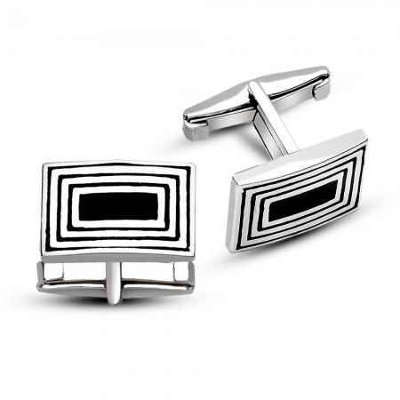 - 925 Ayar Gümüş Kare Tasarımlı Kol Düğmesi