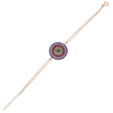 Renkli Zirkon Taşlı Yuvarlak Tasarım 925 Ayar Gümüş Bayan Bileklik - Thumbnail