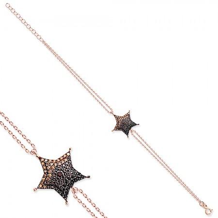 - 925 Ayar Gümüş Karışık Taşlı Yıldız Bileklik
