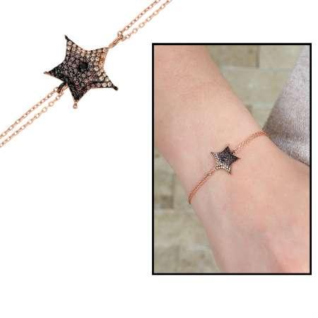 Tesbihane - Sarı-Siyah Zirkon Taşlı Yıldız Tasarım 925 Ayar Gümüş Bayan Bileklik
