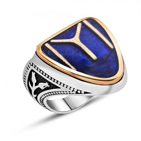 Tesbihane - 925 Ayar Gümüş Kayı Boyu Model Mineli Zihgir Yüzüğü