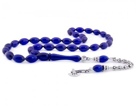 Tesbihane - 925 Ayar Gümüş Kayı Püsküllü Mavi Sıkma Kehribar Tesbih