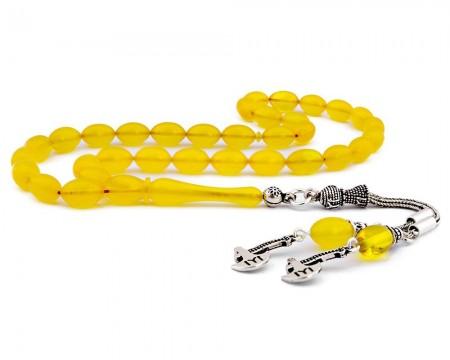 - 925 Ayar Gümüş Kayı Püsküllü Sarı Sıkma Kehribar Tesbih
