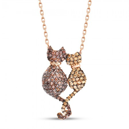 Tesbihane - 925 Ayar Gümüş Kedi Aşk Kolye