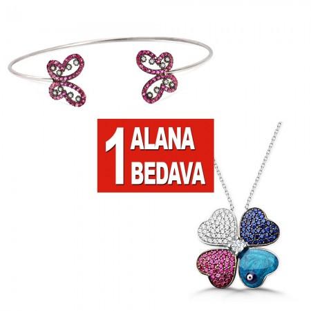 - 925 Ayar Gümüş Kelebek Bileklik ve Kırçiçeği Kolye