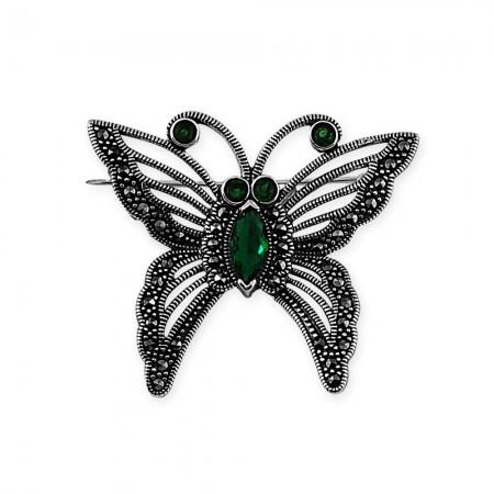 Tesbihane - 925 Ayar Gümüş Kelebek Broş