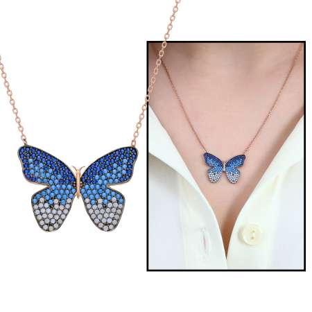 Tesbihane - Mavi-Beyaz Zirkon Taşlı Kelebek Tasarım Kişiye Özel 925 Ayar Gümüş Kolye