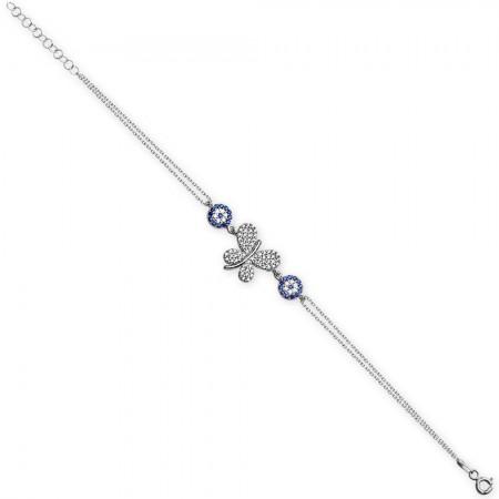 Tesbihane - 925 Ayar Gümüş Kelebek Tasarım Bileklik