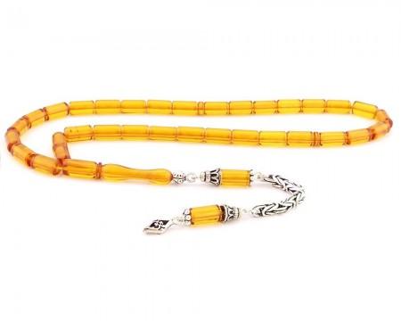 Tesbihane - 925 Ayar Gümüş Kesme Kesim Sarı Sıkma Kehribar Tesbih