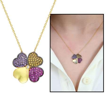 Tesbihane - Renkli Zirkon Taşlı Kırçiçeği Tasarım 925 Ayar Gümüş Bayan Kolye
