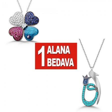 - 925 Ayar Gümüş Kırçiçeği ve Elif Vav Kolye