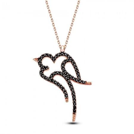 - 925 Ayar Gümüş Kırlangıç Model Siyah Zirkon Taşlı Kolye
