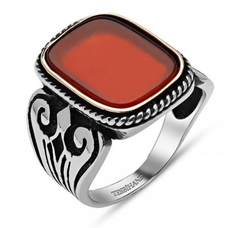 - 925 Ayar Gümüş Kırmızı Akik Taşlı Kare Yüzük