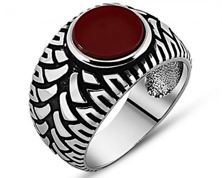 925 Ayar Gümüş Kırmızı Akik Taşlı Yüzük (model 11) - Thumbnail