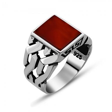 - 925 Ayar Gümüş Kırmızı Akik Taşlı Yüzük (Model-12)
