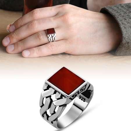 - Zincir Tasarım Kırmızı Akik Taşlı 925 Ayar Gümüş Erkek Yüzük