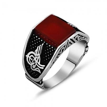 Tesbihane - Tuğra İşlemeli Kırmızı Akik Taşlı 925 Ayar Gümüş Erkek Yüzük