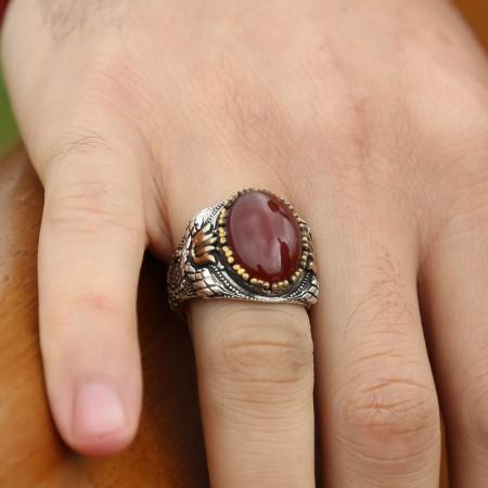 925 Ayar Gümüş Kırmızı Akik Taşlı Yüzük - Thumbnail