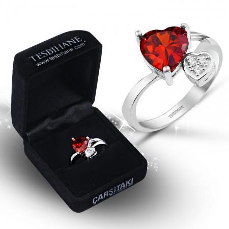 Tesbihane - 925 Ayar Gümüş Kırmızı Beyaz Zirkon Taşlı Çift Kalp Model Yüzük (BSR0021)