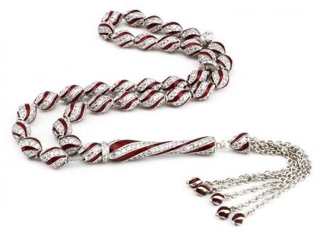 Tesbihane - 925 Ayar Gümüş Kırmızı Mine Kaplamalı Zirkon Taşlı Tesbih