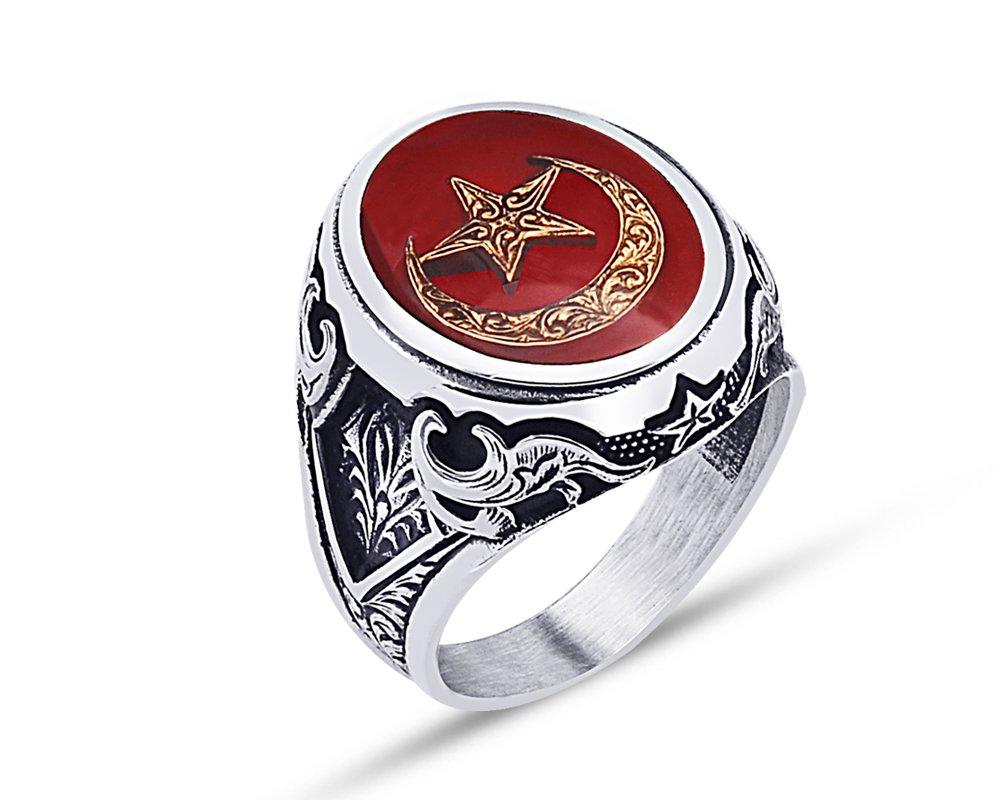 925 Ayar Gümüş Kırmızı Mine Üzerine Ay Yıldız Desen Yüzük - Model - 2