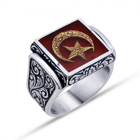 Tesbihane - 925 Ayar Gümüş Kırmızı Mine Üzerine Ay Yıldız Desen Yüzük - Model - 3