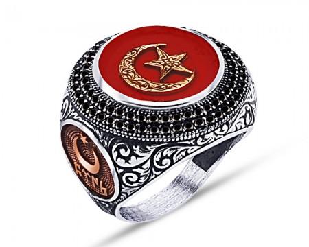 - 925 Ayar Gümüş Kırmızı Mine Üzerine Ay Yıldız Desen Yüzük