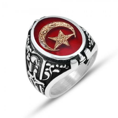 Tesbihane - 925 Ayar Gümüş Kırmızı Mine Üzerine ''Ay Yıldız'' İşlemeli Yüzük