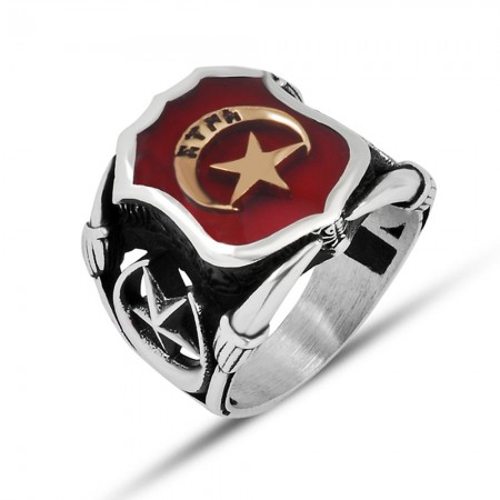 Tesbihane - 925 Ayar Gümüş Kırmızı Mine Üzerine ''Ay Yıldız Türk'' İşlemeli Yüzük