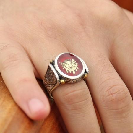 - 925 Ayar Gümüş Kırmızı Mine Üzerine Devlet Armalı Yüzük