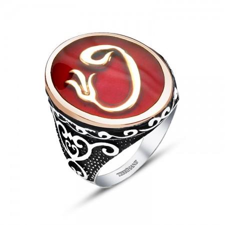 - 925 Ayar Gümüş Kırmızı Mine Üzerine Lale Vav Tasarım Yüzük