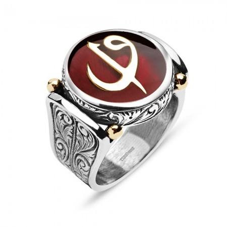 925 Ayar Gümüş Kırmızı Mineli Elif Vav Harfli Özel Tasarım Yüzük - Thumbnail