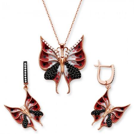 - 925 Ayar Gümüş Kırmızı Renk Kelebek Set