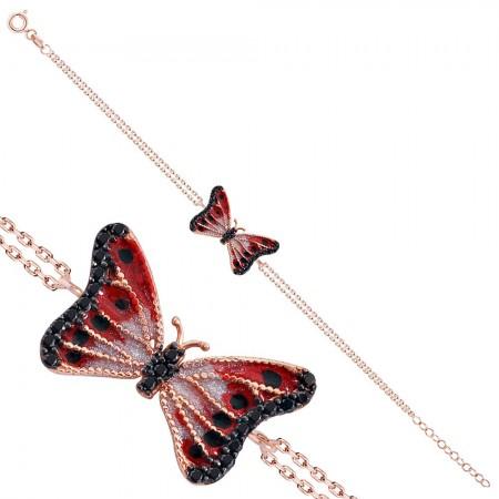 Tesbihane - 925 Ayar Gümüş Kırmızı Siyah Renk Kelebek Model Bileklik - Model 2