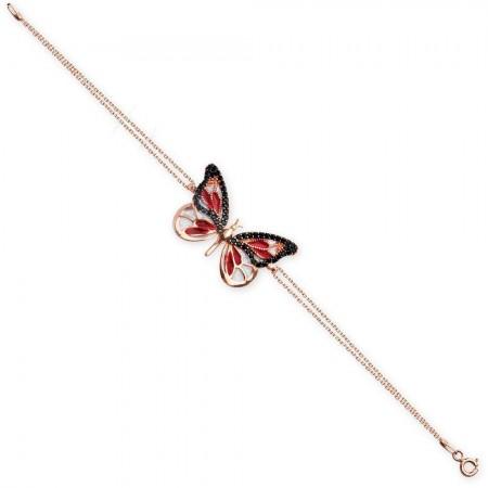 Tesbihane - 925 Ayar Gümüş Kırmızı Siyah Zirkon Taşlı Kelebek Bileklik