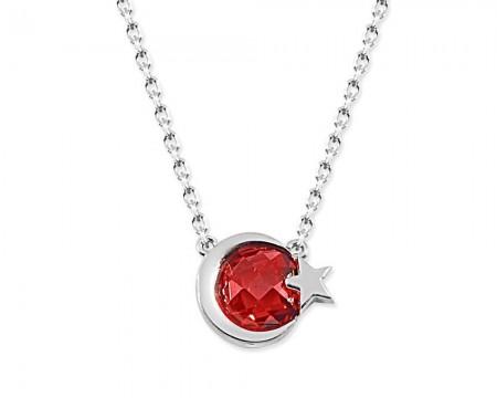 Tesbihane - 925 Ayar Gümüş Kırmızı Taşlı Ayyıldız Kolye - Model - 3