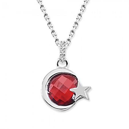 Tesbihane - 925 Ayar Gümüş Kırmızı Taşlı Ayyıldız Kolye