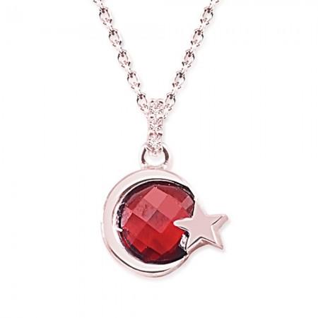 Tesbihane - 925 Ayar Gümüş Kırmızı Taşlı Ayyıldız Rose Kolye