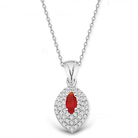 Tesbihane - 925 Ayar Gümüş Kırmızı ve Beyaz Zirkon Taşlı Kolye