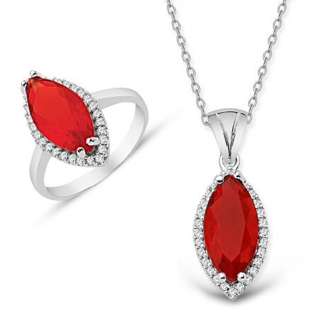 Tesbihane - 925 Ayar Gümüş Kırmızı ve Beyaz Zirkon Taşlı Kolye ve Yüzük Seti