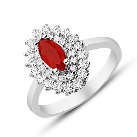 Tesbihane - 925 Ayar Gümüş Kırmızı ve Beyaz Zirkon Taşlı Yüzük