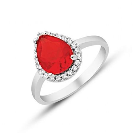 - 925 Ayar Gümüş Kırmızı ve Beyaz Zirkon Taşlı Yüzük