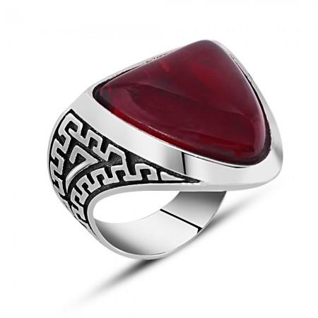 Tesbihane - 925 Ayar Gümüş Kırmızı Zihgir Yüzüğü
