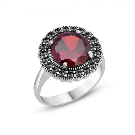 Tesbihane - 925 Ayar Gümüş Kırmızı Zirkon Etrafı Siyah Zirkon Taşlı Yüzük