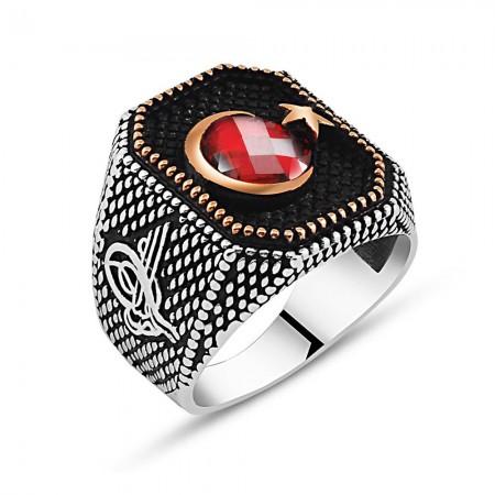 Tesbihane - Tuğra İşlemeli Ayyıldız Motifli Kırmızı Zirkon Taşlı 925 Ayar Gümüş Yüzük