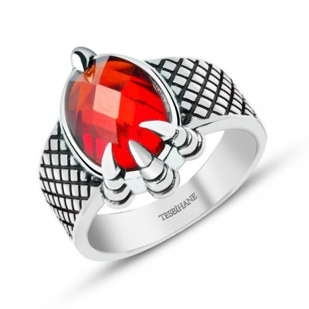 Tesbihane - 925 Ayar Gümüş Kırmızı Zirkon Taşlı Kartal Pençeli Yüzük